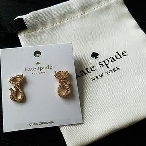 NWT Gold Cat Earrings